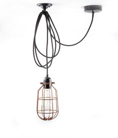 Our cage pendant light comes with: 3 metres of fabric cable Bakelite E27 Edison screw bulb holder Steel Drop Cage with electroplated copper finish Ceiling h