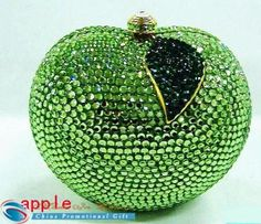 Amazing Crystal Bag Fashion with green apple design