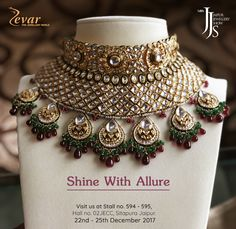 Shine With Allure Visit us at Jaipur Jewellery Show from - Dec. We would be available at Booth Hall JECC, Sitapura, Jaipur. Jewelry Show, Jewelry Design, Jewellery, Diamond Jewelry, Silver Jewelry, Indian Bridal Photos, Silver Diamonds, Pendants, Jewels