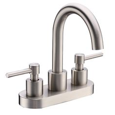 This Cadell 2040001 centerset bathroom faucet has a sleek and minimalist design that will update the look of your bathroom. The faucet has a solid brass construction that ensures durability. The two handles make controlling temperature and flow rate easy.