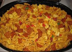 This is one of the best chex mix recipes ever...the trick is the ranch seasoning packet and the popcorn oil.  You will be amazed at the final product.