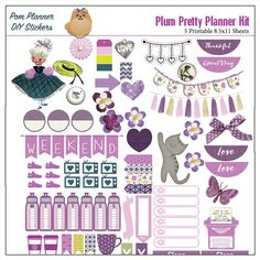 Plum Pretty Printable Planner Stickers / 5 by DigiScrapDelights