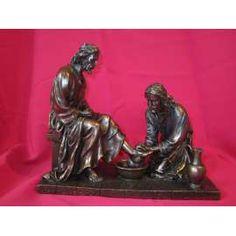 JESUS LAVANDO LOS PIES-VERONES BRONCE