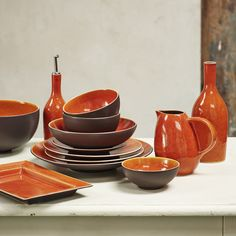 Handmade ceramics from the collection Tourron in beautiful orange by Jars Ceramistes. Essential, simple, natural -spontaneously evoking the southern French lifestyle at every table.
