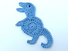 1 Crochet applique mid blue Tyrannosaurus by MyfanwysAppliques