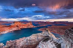 Alstrom point, Lake Powell at sunset from Alstrom point a stormy day