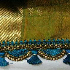 tassels for saree Saree Kuchu Designs, Blouse Designs, Silk Bangles, Saree Tassels, Crochet Lace Edging, Knit Crochet, Saree Border, Silk Art, Amai