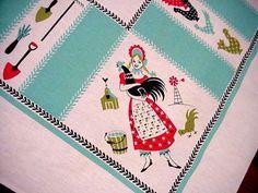 Vintage 50's Mid-Century CHICKEN Rooster LG Tablecloth AQUA Farm Garden Theme | eBay Aqua Farm, Linens And More, Vintage Tablecloths, Vintage Linen, Garden Theme, Farm Gardens, Rooster, Mid Century, Kids Rugs