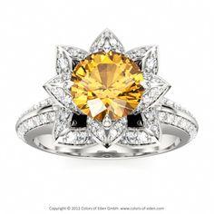 Black Diamond Lotus Engagement Ring- my dream ring Lotus Engagement Ring, Engagement Ring Styles, Designer Engagement Rings, Art Nouveau, The Bling Ring, Bling Bling, Lotus Ring, Diamond Jewelry, Diamond Rings