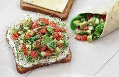California Veggie Sandwich  by Rebecca Crump: Avocado salad with yogurt/chive spread and sprouts on whole grain bread or tortillas! #Sandwich #Veggie_Sandwich #Rebecca_Crump