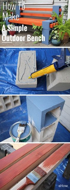 Um banco de jardim muito simples de fazer. Feito c/ tijolos de concreto e madeira. Depois é só impermeabilizar com verniz náutico. Fácil de fazer - DIY