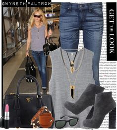 """""""GET THE LOOK - Gwyneth Paltrow at LAX on 19th Jan"""" by karineminzonwilson ❤ liked on Polyvore"""