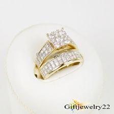 10K Yellow Gold 1.2 Ct Diamond Engagement Bridal Ring Round Cut Wedding Band Set