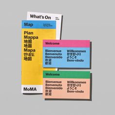New branding system designed by New York-based Order for MoMA in Opinion by Richard Baird. Brand Identity Design, Corporate Design, Branding Design, Brochure Design, Identity Branding, Corporate Identity, Museum Identity, Design Layouts, Packaging Design