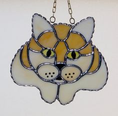 Stained Glass Suncatcher Cat Head and Paws Yellow by GLASSbits