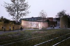 Image 14 of 14 from gallery of Kengo Kuma and Cornelius+Vöge Release Plans for Hans Christian Andersen Museum in Odense. Courtesy of Kengo Kuma & Associates, Cornelius+Vöge, and MASU planning Kengo Kuma, Odense Denmark, Museum Cafe, Cafe Exterior, Win Competitions, Classic Garden, Hans Christian, Dezeen, Landscape Design
