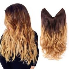 Creamily 20 Wavy Curly Brown To Golden Blond Ombre Dip Dye Synthetic Hair Extension Secret