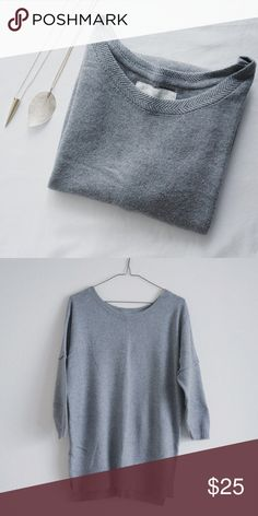 "Gray Sweater + Measurements • 22"" pit to pit • 11"" sleeve • 28"" approx length ( shoulder point to hem )  + Composition • 37% cotton, 31% polyamide, 27% viscose, 5% angora  Gently worn. Good condition. H&M Sweaters Crew & Scoop Necks"