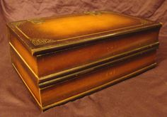 Vintage Jewelry Box Flat / Ornate Woodwork / Mirrored / Velvet Drawers $36
