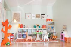 Clementine-Accented Room  so this may be a childs room, but i really like the color combo