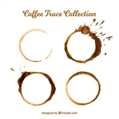Coffee stains set with splashes Free Vector