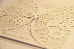 Ivory flower with jewel, laser cut wedding invitation from www.whitelacestationery.co.uk