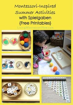 Ideas for Montessori-inspired summer activities using Spielgaben educational toys and free summer printables. Printables and activities for toddlers through early elementary.