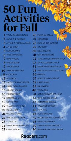 50 Fun Activities for Fall. Hint: a lot have to do with pumpkin. 50 Fun Activities for Fall. Hint: a lot have to do with pumpkin. Fun Fall Activities, Family Activities, Fall Festival Activities, Outdoor Activities For Adults, Seasons Activities, Elderly Activities, Senior Activities, Music Activities, Indoor Activities