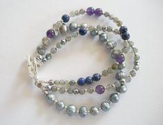 Amethyst Lapis Lazuli Labradorite and Freshwater Pearl Gemstone Bracelet by LostElephantDesigns