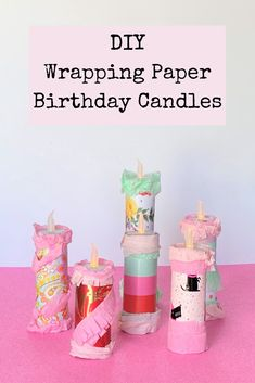 These DIY wrapping paper birthday candles are perfect for all the upcoming birthdays! #diy #partydecor