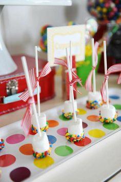 EASY party treat! Marshmallows dipped in white chocolate & sprinkles! Via Kara's Party Ideas- KarasPartyIdeas.com