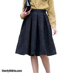 Ladies Womens Pocket Back Swing Skater Scuba Knee Length High Low Midi Dip Skirt