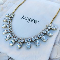 "NWT J Crew Crystal Cluster Bib Statement Necklace NWT - J Crew -  epoxy and glass stones - light gold ox plating - 18"" long with a 3"" extender chain for adjustable length - white J Crew monogrammed drawstring storage bag and jewelry gift box included with purchase - reasonable offers welcomed - bundle discounts available J. Crew Jewelry Necklaces"