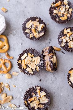 These Chocolate Peanut Butter Pretzel Cups are inspired by the Take 5 candy bar, but made with way more wholesome ingredients! These gluten-free, refined sugar-free and vegan candy cups are filled with peanut butter caramel, with pretzels and peanuts for crunch.