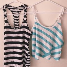 F21 | bundle of 2 striped tops Bundle of 2 striped tank tops: one black/white racerback, one cropped blue/white with open back. Good condition - barely used. Forever 21 Tops Tank Tops