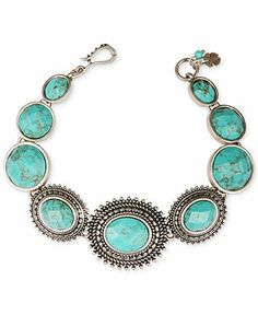 Lucky Brand   Silver-Tone Turquoise Stone Link Bracelet