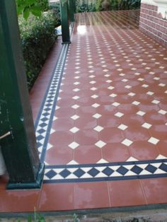 Edwardian Tiles - Red Octagon with Norwood Border Front Verandah, Tiled Hallway, Interior Design Courses, Red Floor, Red Tiles, Hospital Design, Outdoor Tiles, Red Cottage, House Tiles