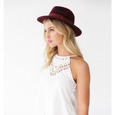 Fedora bow hat jaxon model, bordeaux red