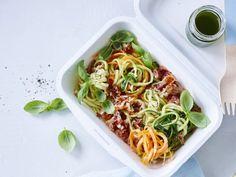 Groentepasta met pancetta en peterselieolie