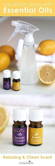 Homemade Lemon & Lavender Linen Spray with Young Living Essential Oils. LivingLocurto.com #LavenderEssentialOil