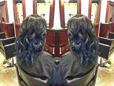 Dark blue balayage