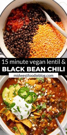 I'm here to let you in on a little secret…healthy food can also be hearty and satisfying! TRY THIS VEGAN BLACK BEAN CHILI! It's loaded with over of your daily fiber in each servi Tasty Vegetarian Recipes, Vegan Dinner Recipes, Vegan Dinners, Veggie Recipes, Vegan Vegetarian, Whole Food Recipes, Paleo, Protein Recipes, Black Bean Chili Recipe Vegetarian