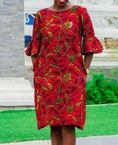 Studded African Ankara Midi Dress, Ethnic Women's Dresses, Ankara Midi Dress, African Dress, Knee-length Dress - Women's style: Patterns of sustainability African Fashion Ankara, Latest African Fashion Dresses, African Print Fashion, Short African Dresses, African Print Dresses, Short Gowns, Ankara Dress Styles, Maternity Fashion Dresses, Studded Dress