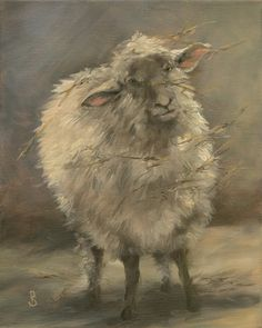 """Curious Look, Wooly Sheep   8"""" x 10"""" original oil painting   gallery wrapped canvas     With all his messy straw hanging from   his coat..."""