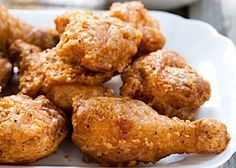 Crispy Fried Chicken: Cut a whole chicken in pieces. Bowl 1: whisk eggs and cornstarch, Bowl 2: cornstarch, Bowl 3: flour, cornstarch, salt, pepper, paprika, garlic powder, Italian seasoning. Pass the chicken in bowl 1 first, then in bowl 2 and let it rest for 10 mins. After pass the chicken in bowl 1 again, then bowl 2, after bowl 1 and lastly bowl 3. Fry in oil preferably Crisco in a medium pot.