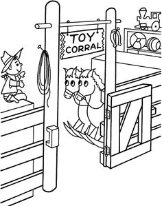 Printable Christmas coloring page of an elf and toy shlef