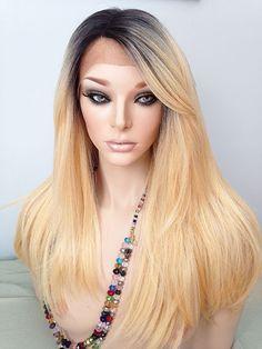 Lace Front Wig, #SRA1B/GoldenBlonde, Dark Rooted Dark Brown, Golden Blonde