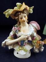 Woman Antique Vintage Porcelain Pincushion Germany Half Doll Flowers ERNST sold…