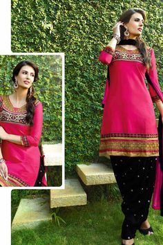 Pink & Black Cotton Cambric Suit With Chiffon Dupatta