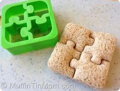 Love the puzzle sandwich cutter. Cute idea for a toddler size muffin tin lunch!